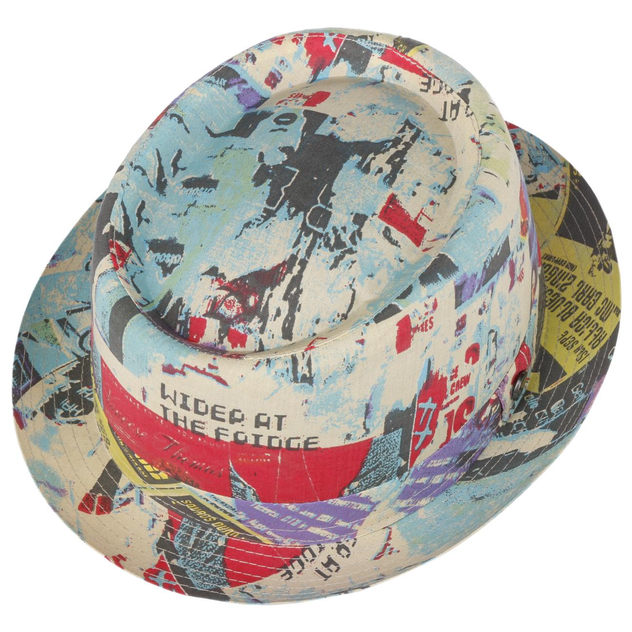 Baumwolle und Seide Lierys Roarkey Player Stoffhut Herren Fr/ühjahr//Sommer Pork Pie Handmade in Italy Hut mit Leinen Herrenhut in Blau mit zweifarbiger Schleife